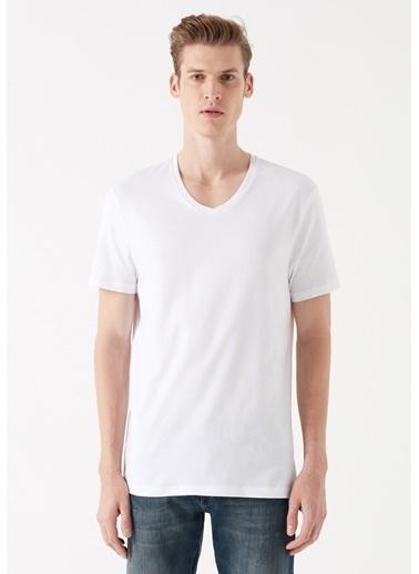 Mavi Erkek  V Yaka Tişört 065586-620 Beyaz